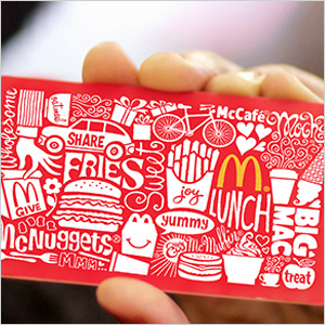 A fast food gift card