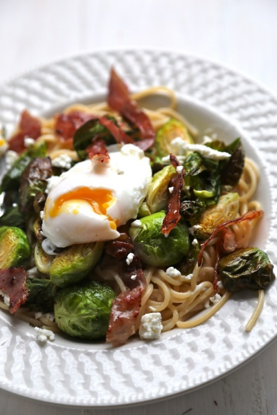 Roasted Brussels sprouts and prosciutto pasta