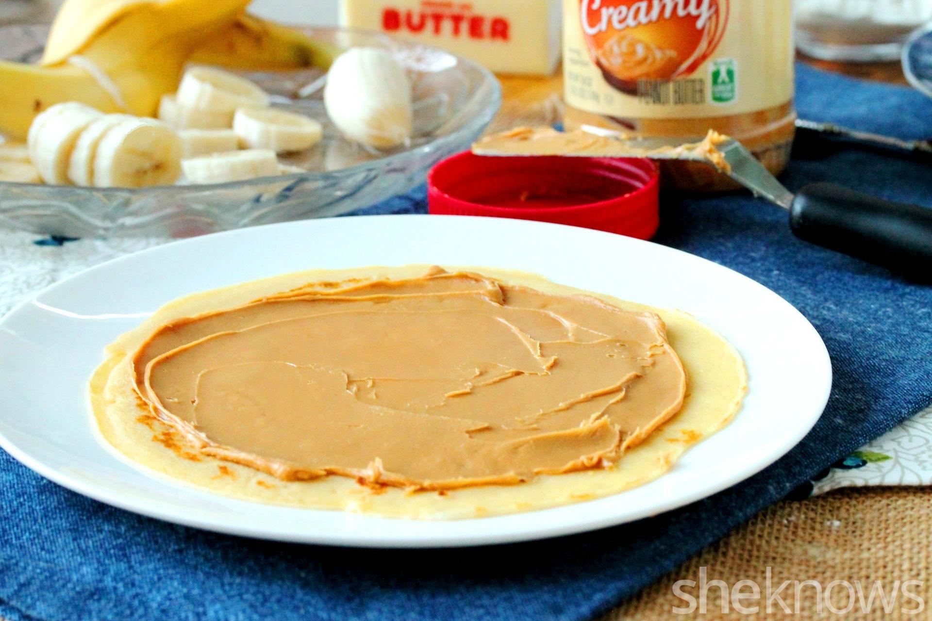 peanut butter on crepe