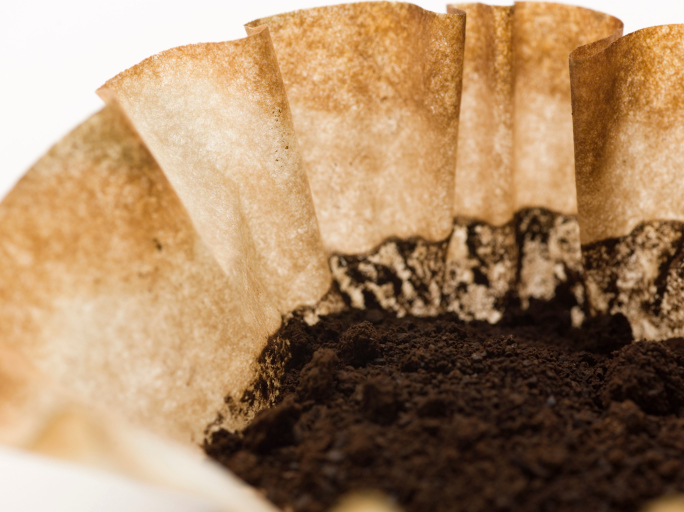 used coffee filter and grounds