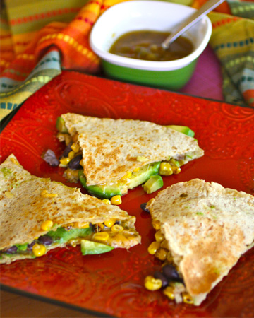 Sunday Dinner: Roasted corn, black bean and avocado quesadillas