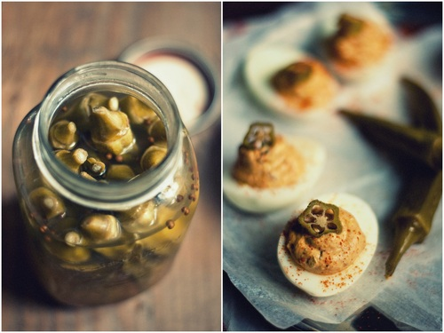 Creole deviled eggs with pickled okra