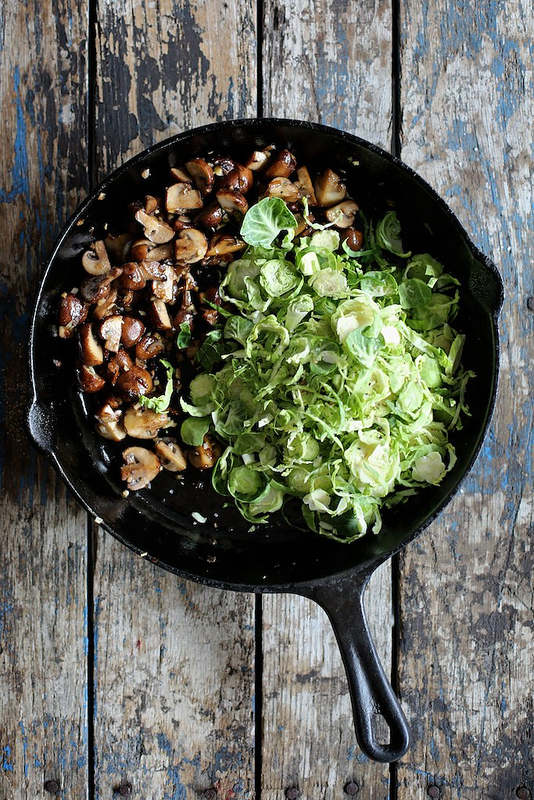Mushroom and Brussels sprouts hash