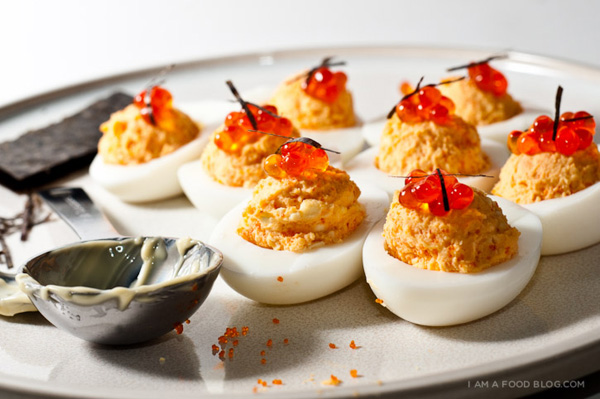 Triple deviled eggs