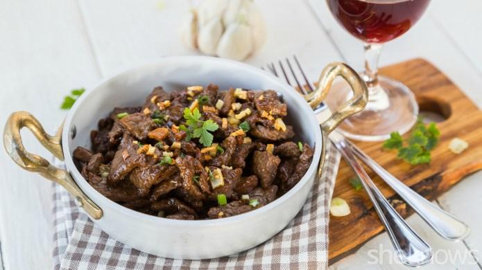Garlicky beef tenderloin tips are an