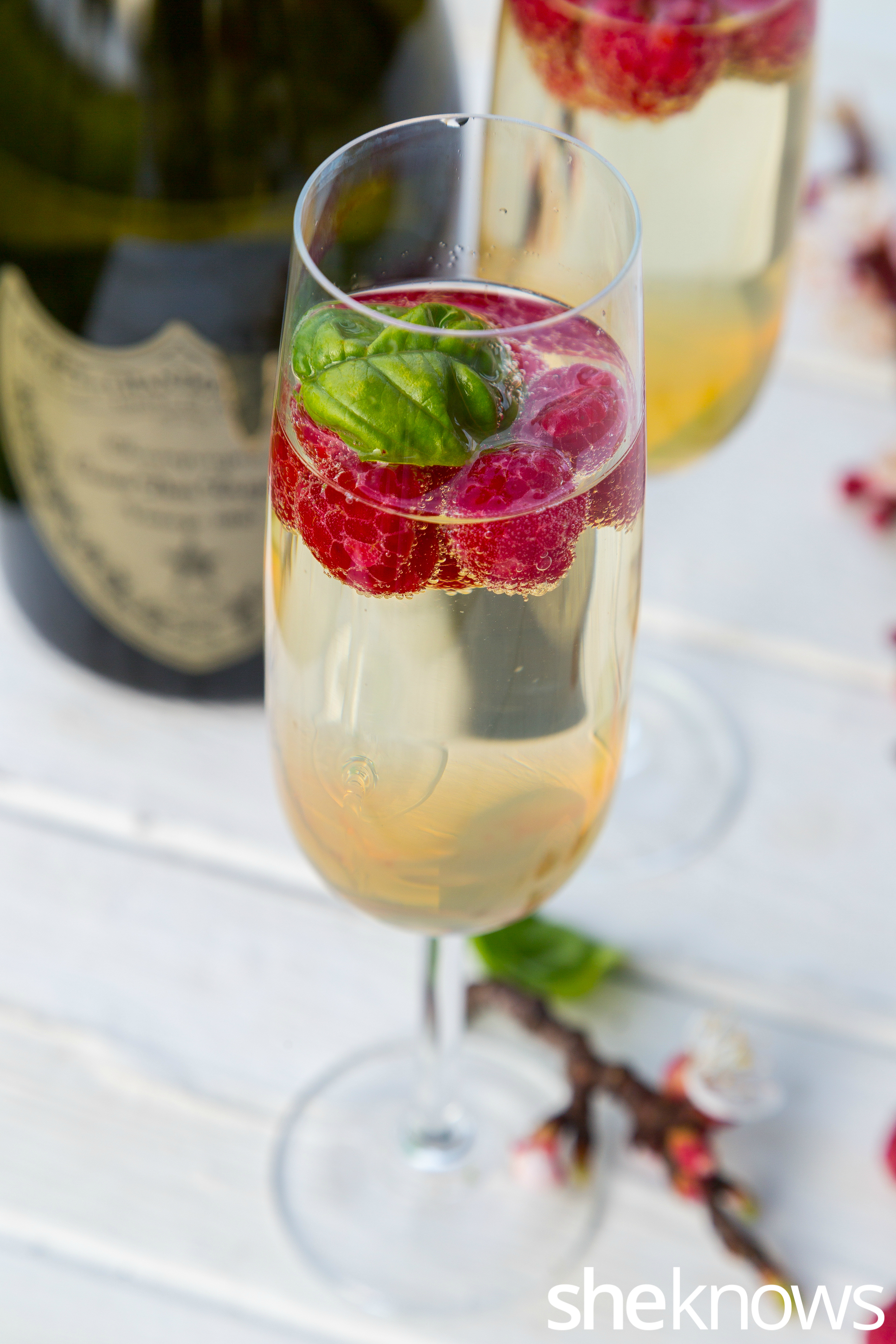Ederflower mimosa with raspberries and basil