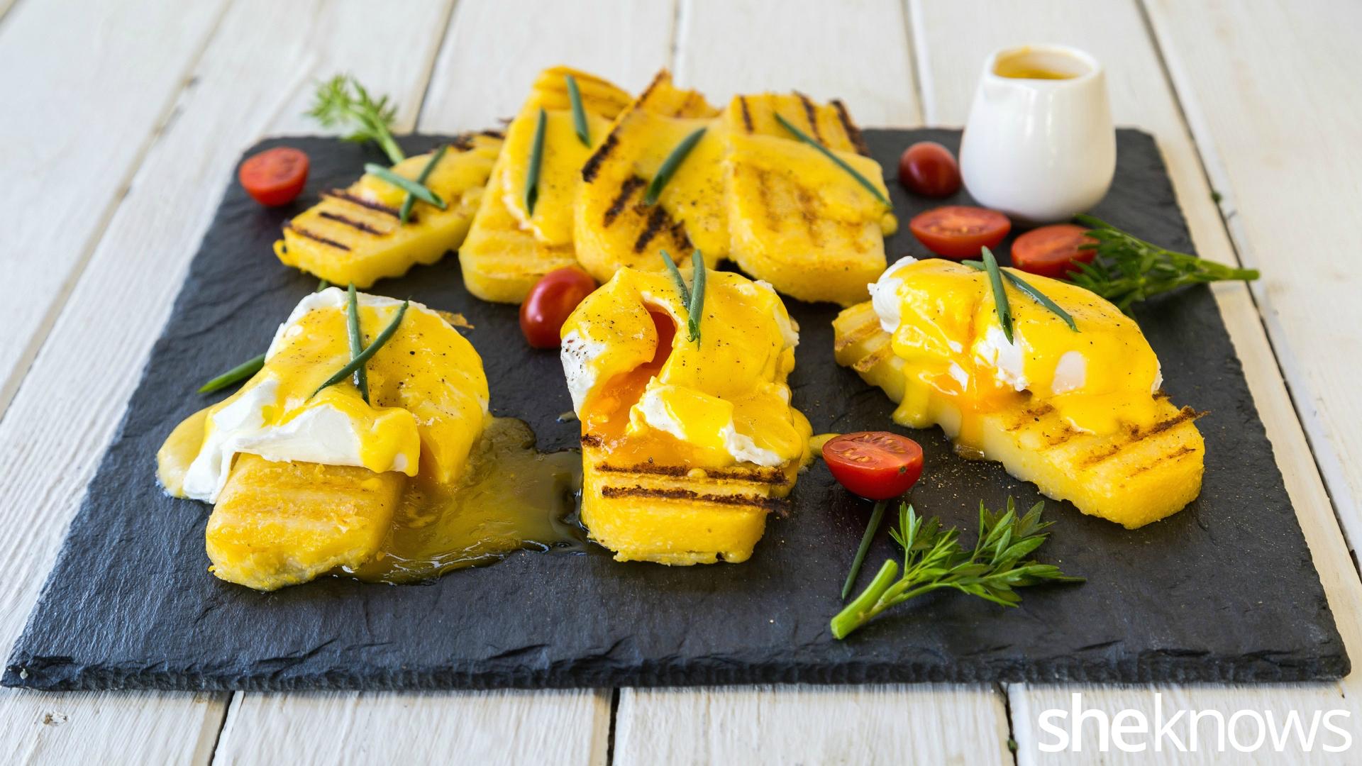 Eggs benedict on grilled polenta 2