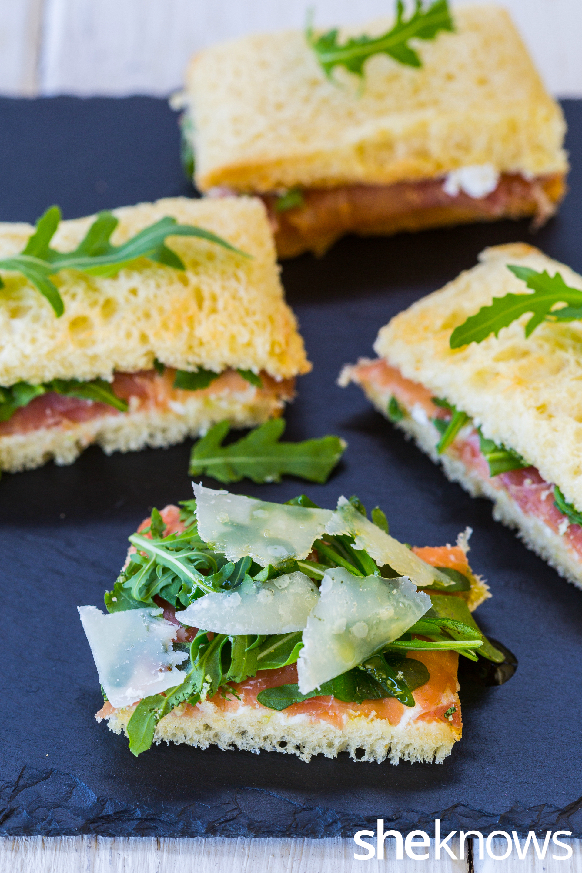 Parmesan cream cheese, prosciutto & arugula tea sandwich