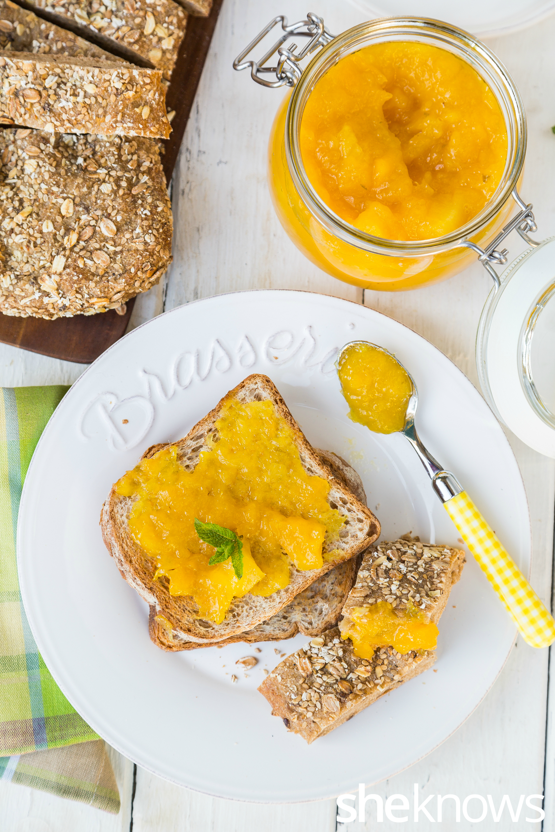 Mango and pineapple jam with lime zest