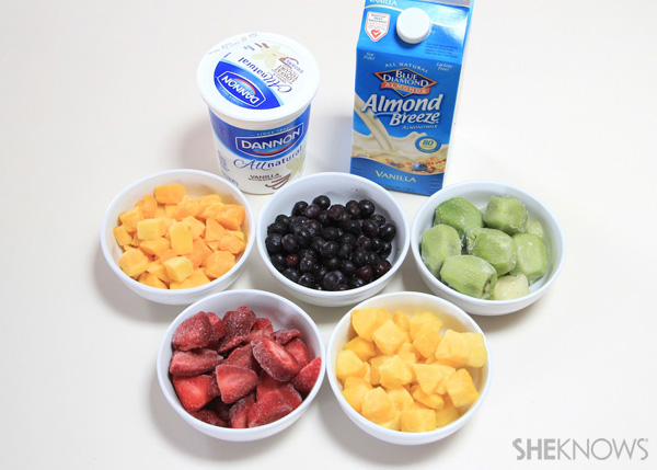 Ingredients for rainbow smoothie pops
