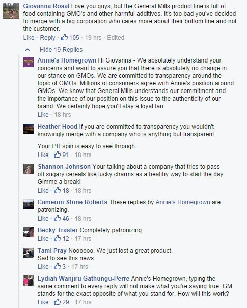 reactions from customers on Facebook, along with Annie's responses