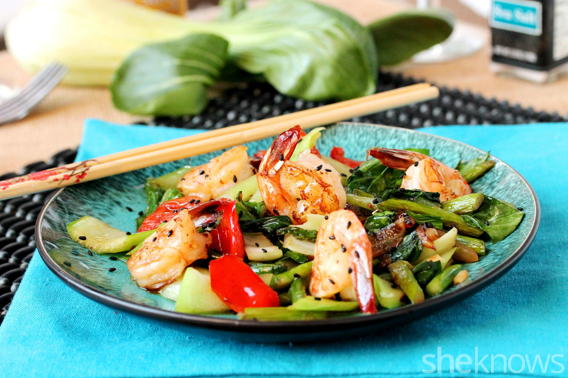 2 Bok choy with shrimp and sesame oil