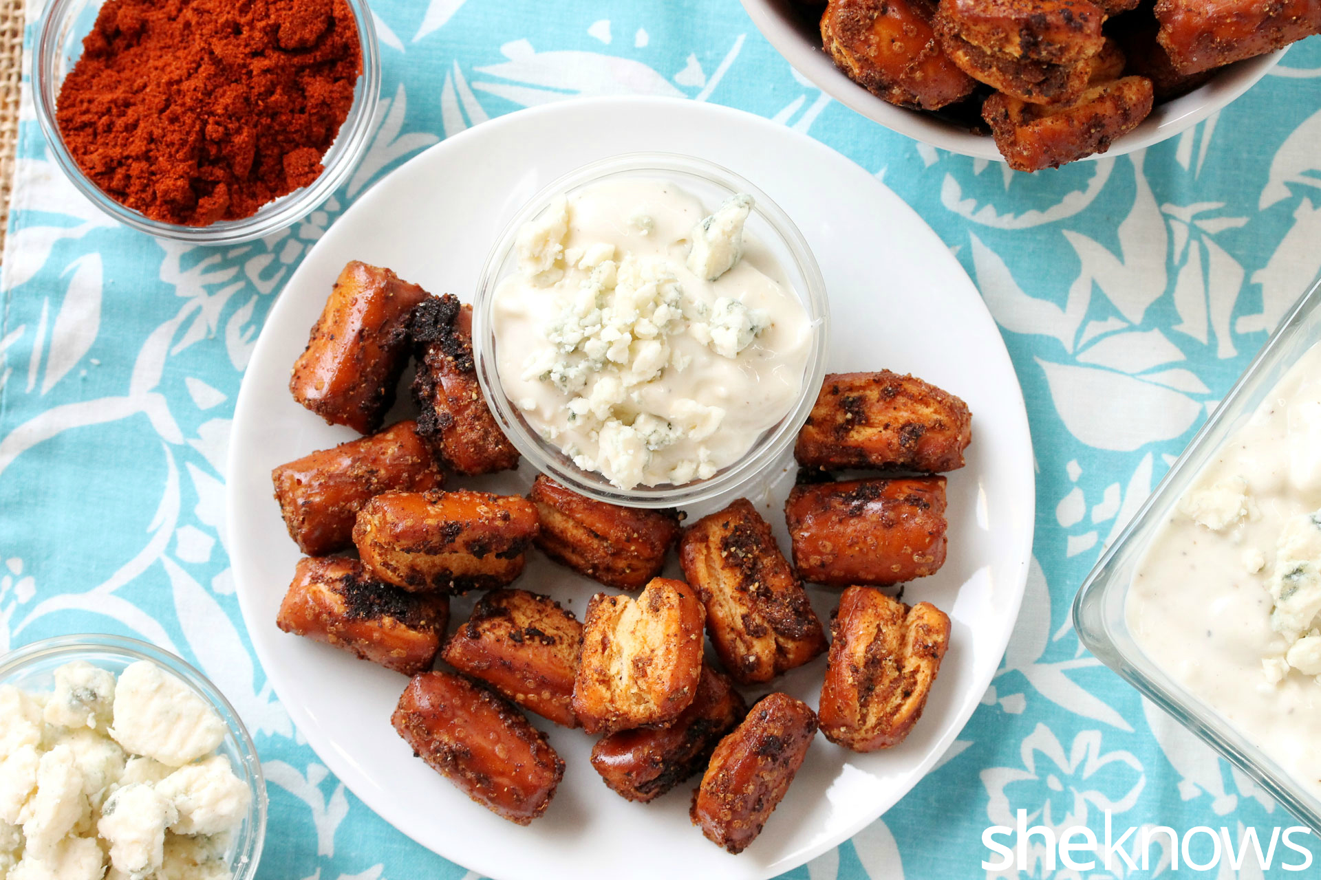 Blue cheese dip with buffalo wing pretzels