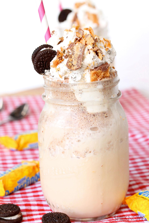 Butterfinger malted milkshake with Oreo whipped cream recipe