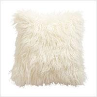 Ivory faux fur pillow