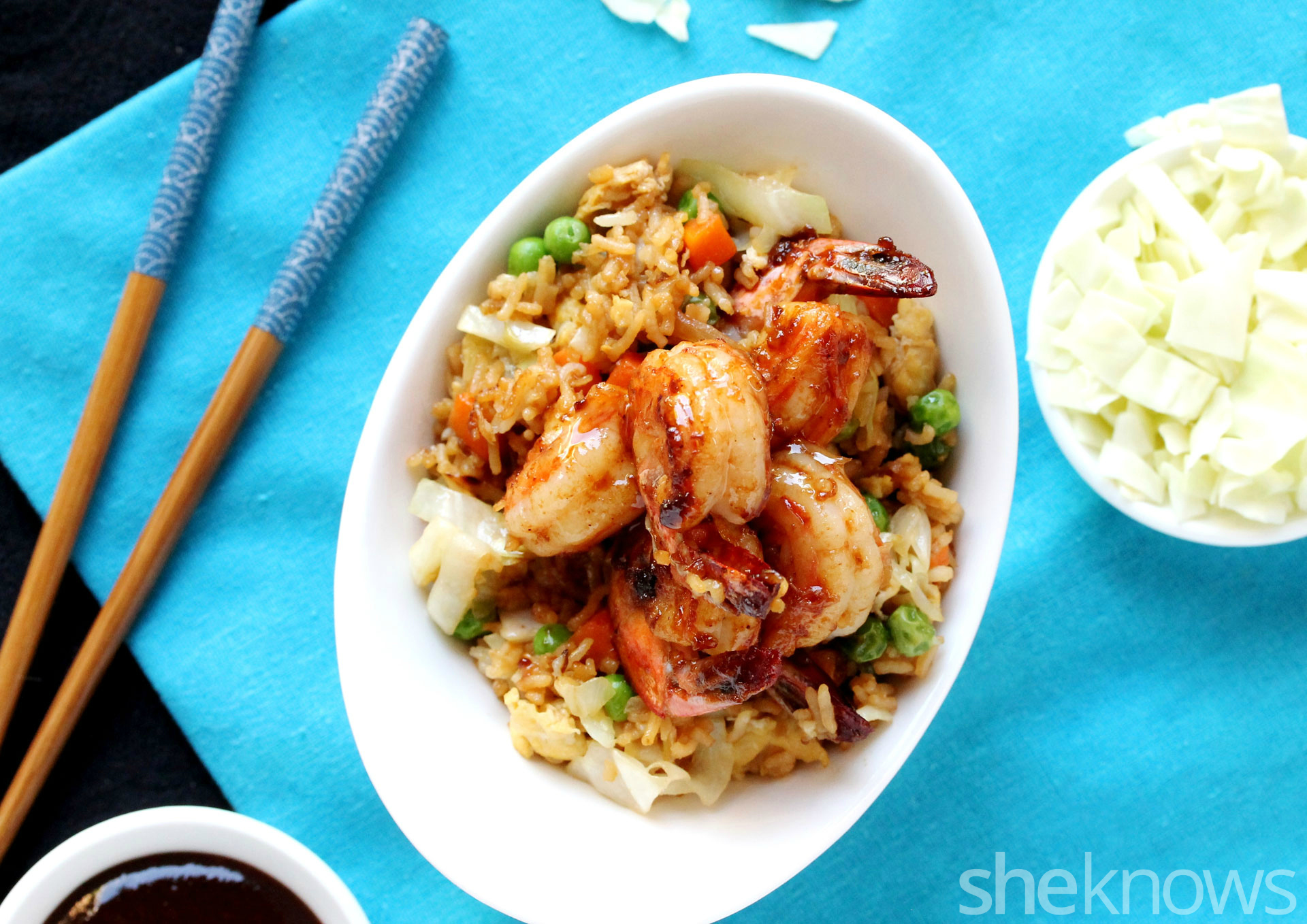 Shrimp and cabbage fried rice on plate