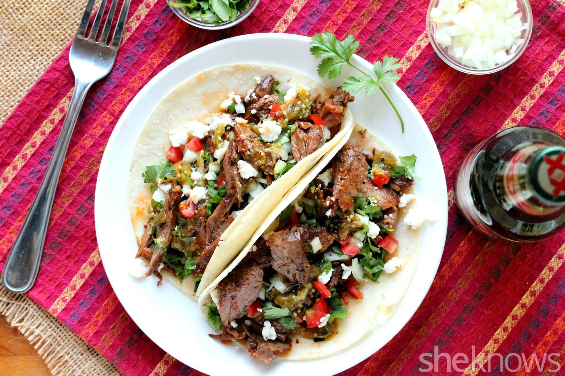 slow cooker carne asada soft tacos