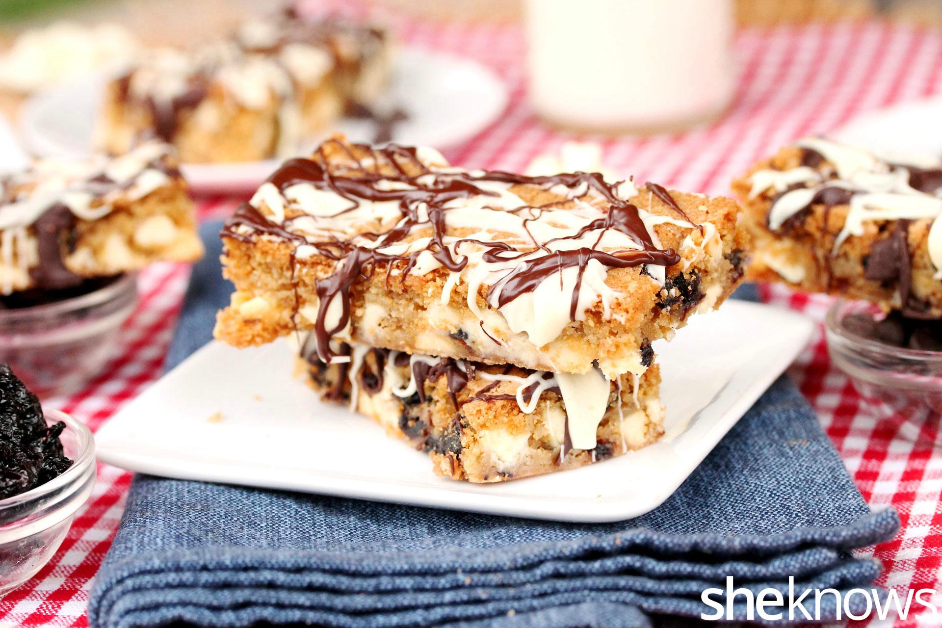 white and dark chocolate chip cherry cookie bar