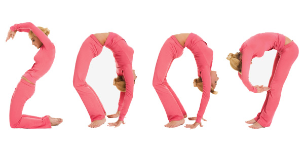 Woman Spelling Out 2009 with her Body
