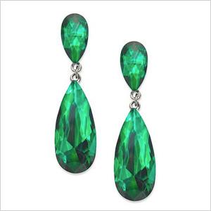 Emerald drop down earrings