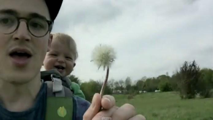 Pop star's baby meeting a dandelion
