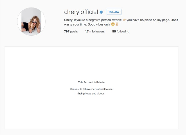 Cheryl Fernandez-Versini makes Instagram account private
