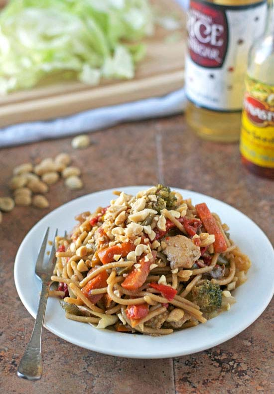 Hot and sour noodle stir fry peanut chicken