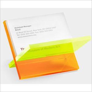 Criss-cross lucite business card holder