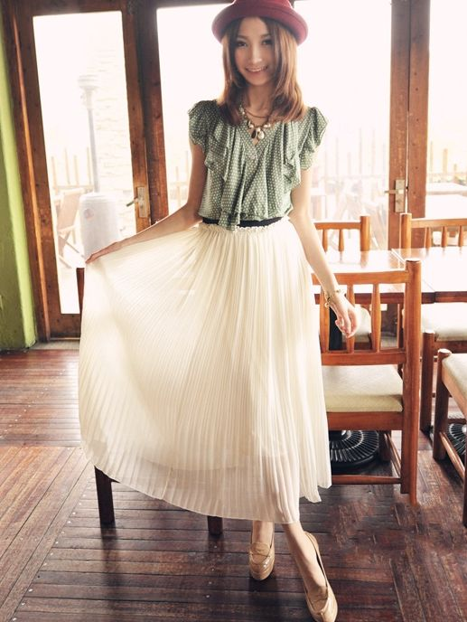 Wholesale Ladies Fashion Sweet Natural Waist Pleated Chiffon Skirt With Lining