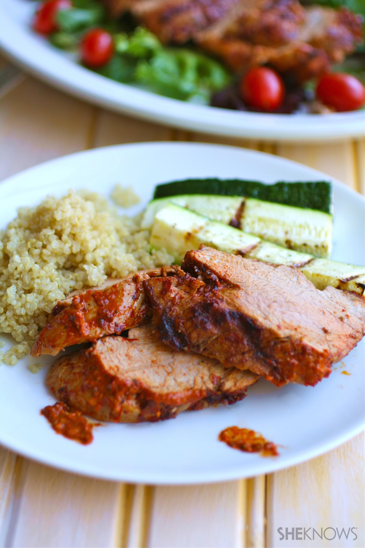 Grilled pork tenderloin with spicy harissa paste