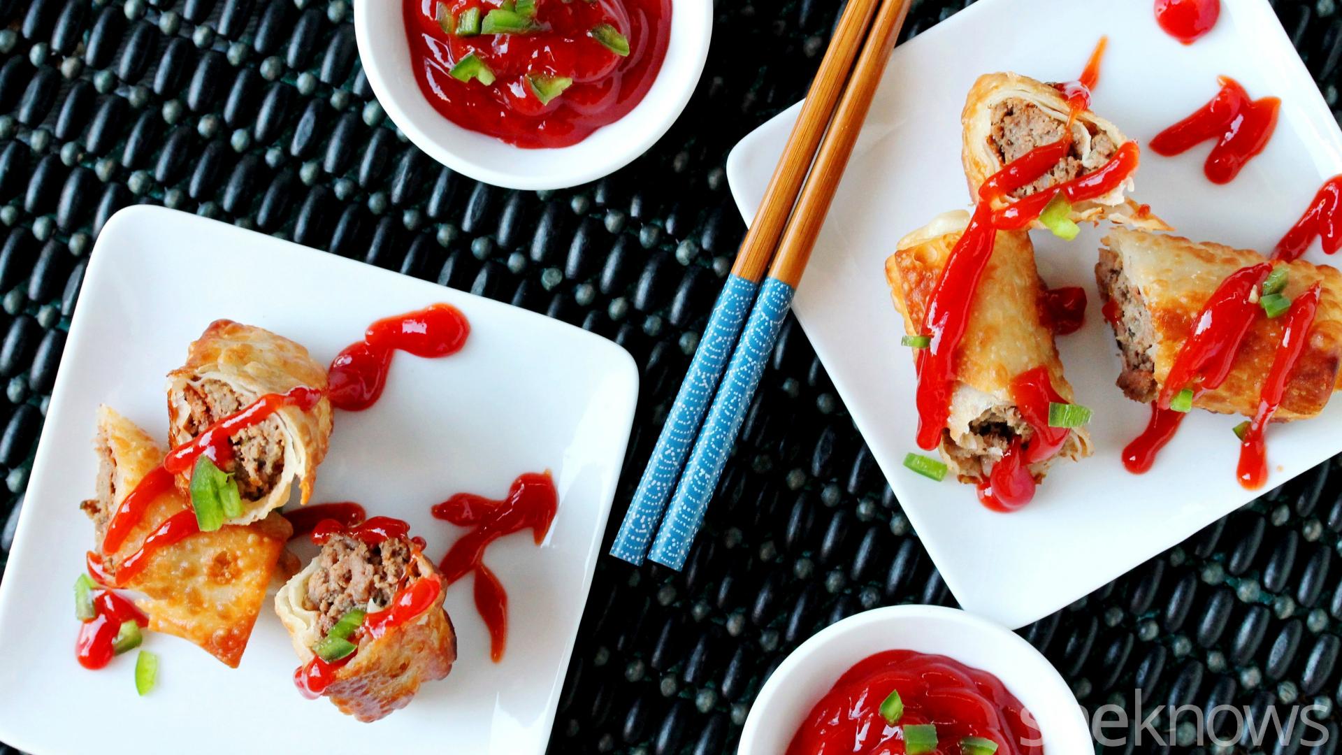 meatloaf egg rolls on plate