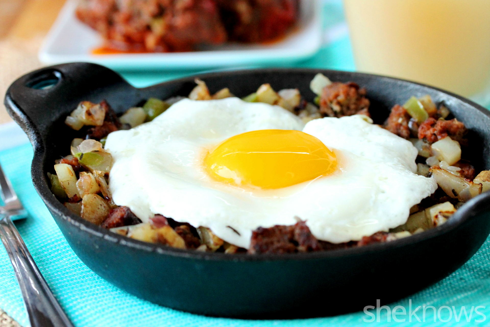 meatloaf and egg hash in pan