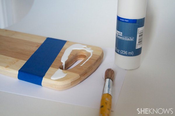 DIY painted cutting board Step 2: Paint top portion of cutting board