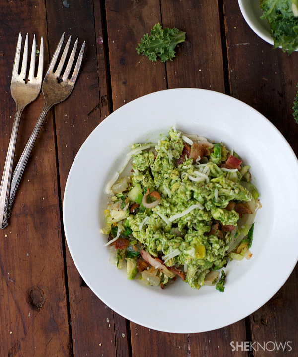 Green eggs, pork belly and Brussels sprouts breakfast hash