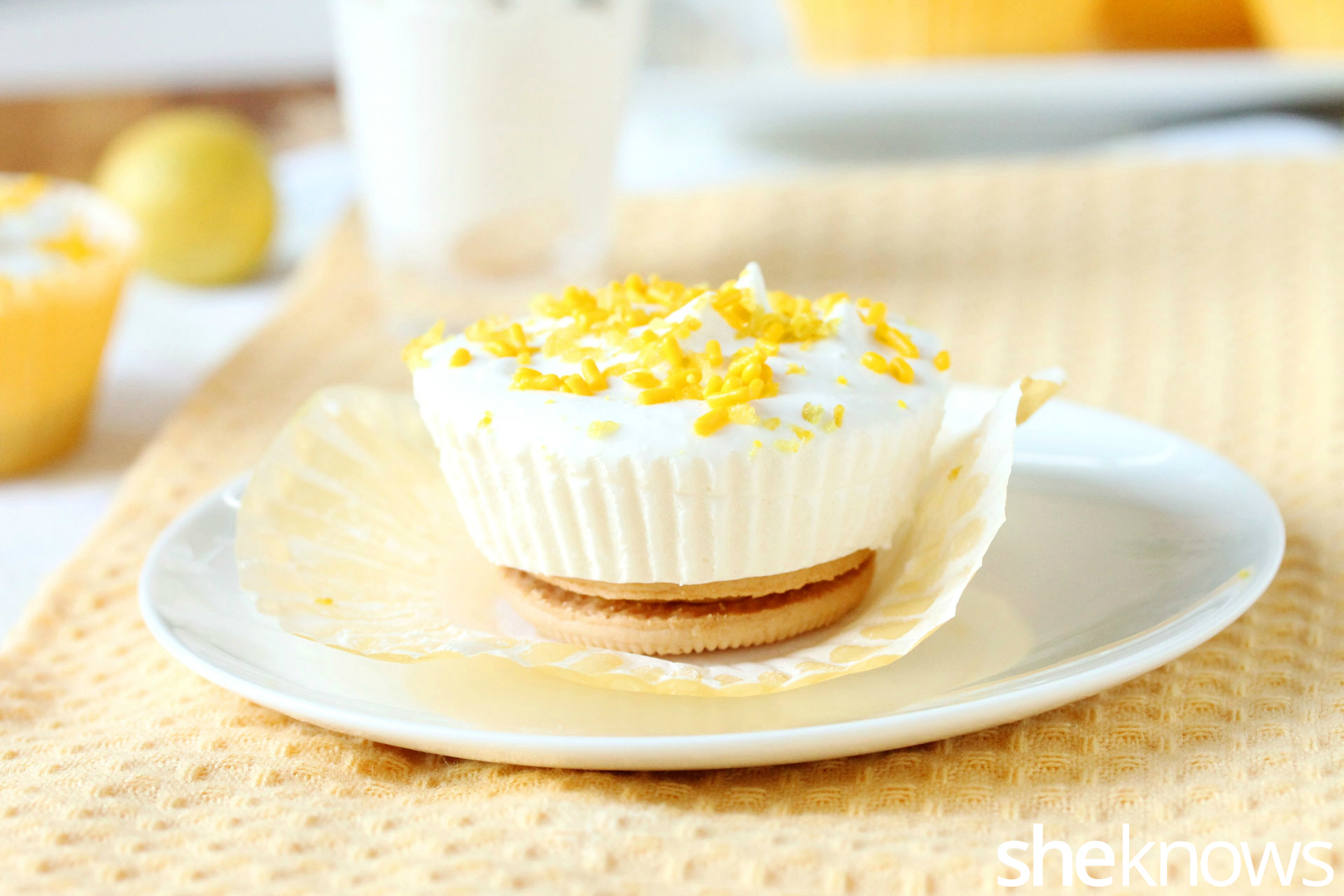 lemon cool whip cupcakes on plate