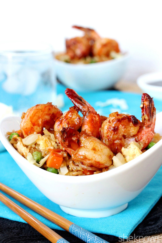 Shrimp and cabbage veggie fried rice