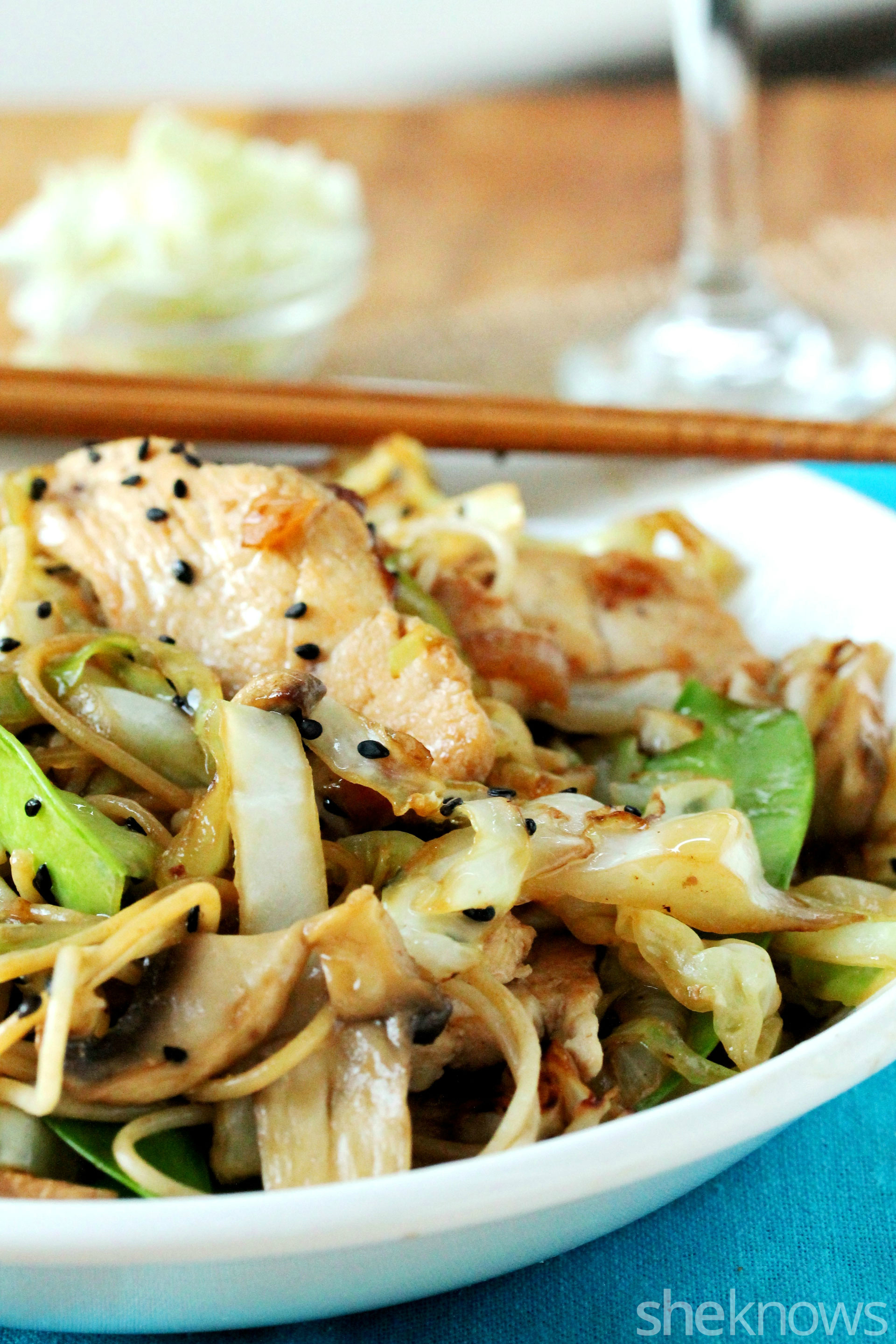 Cabbage stir fry with wheat pasta