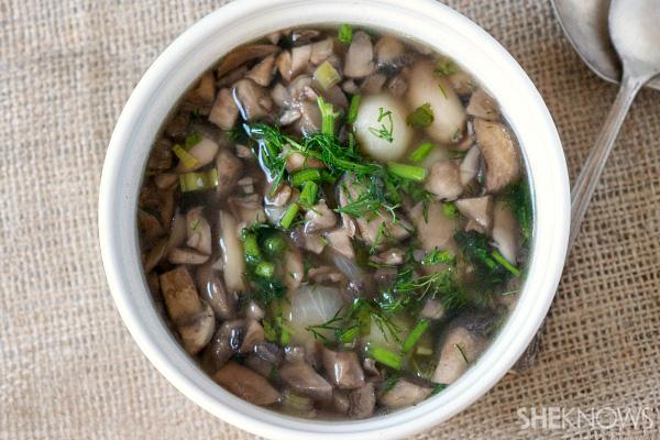 Wild mushroom gnocchi soup