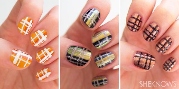 3 Classic plaid nail art designs