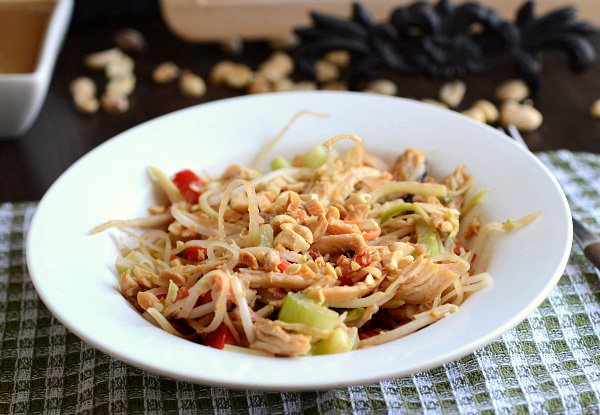 Thai chicken noodle salad with peanut dressing