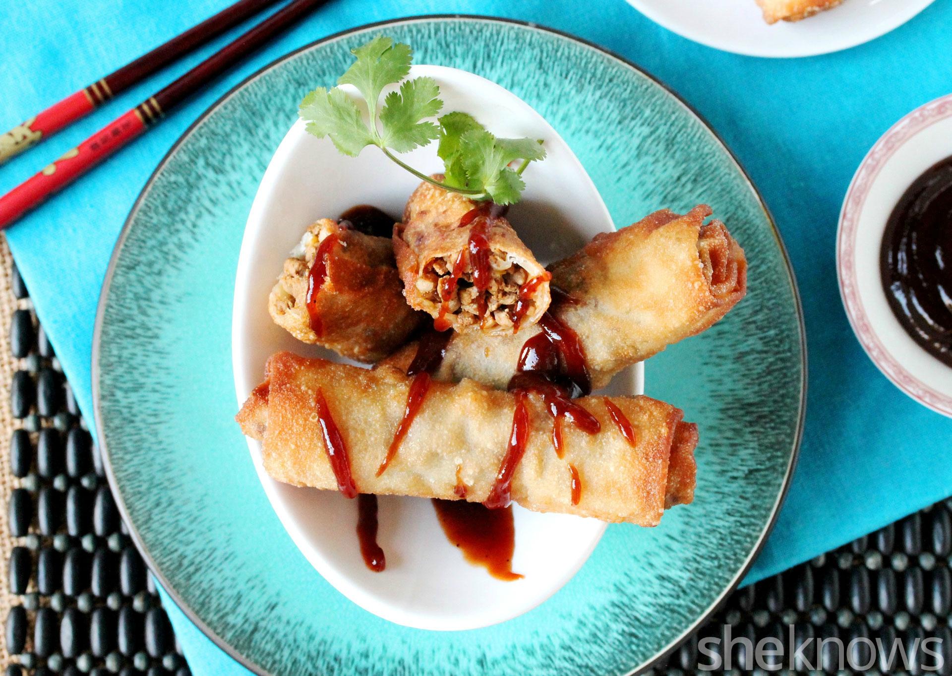 ground pork egg rolls on plate