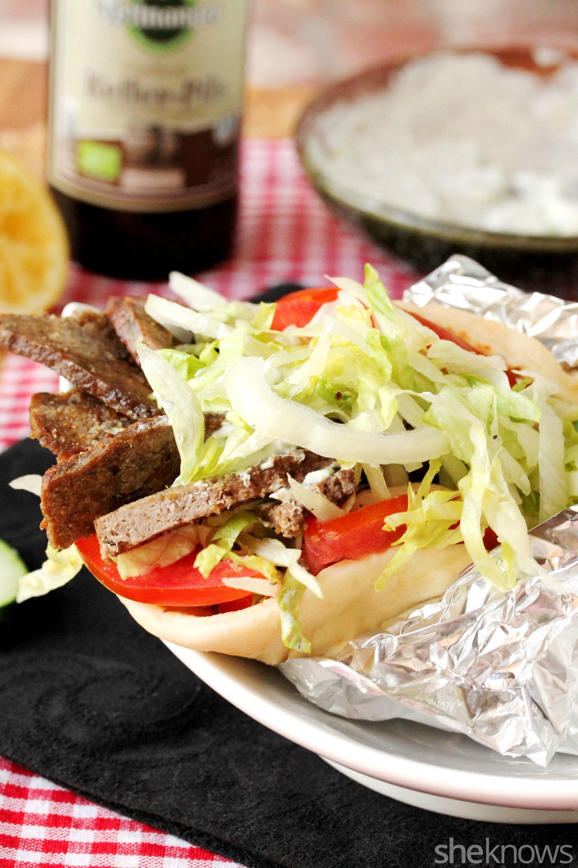 done kebab with tzatziki sauce