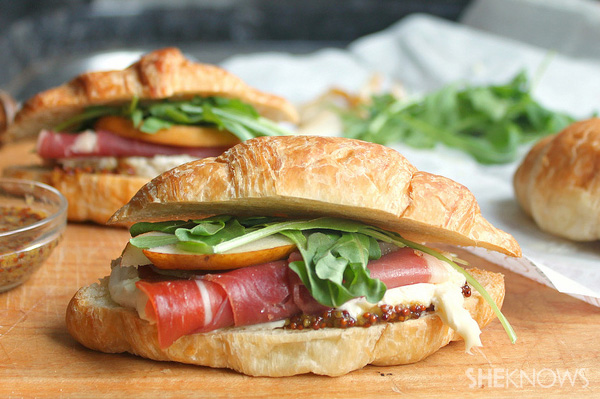 Prosciutto, brie and pear with honey mustard on croissants recipe