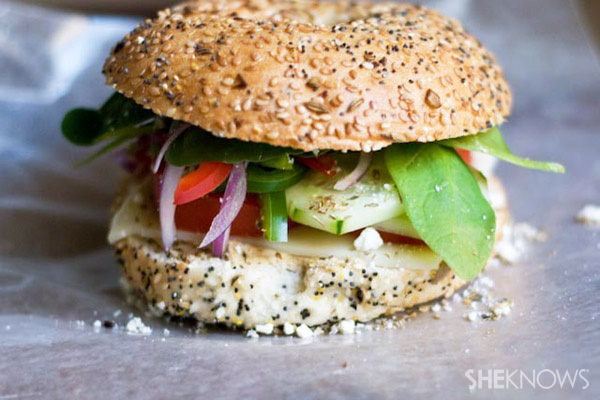 Mediterranean veggie bagel sandwich recipe