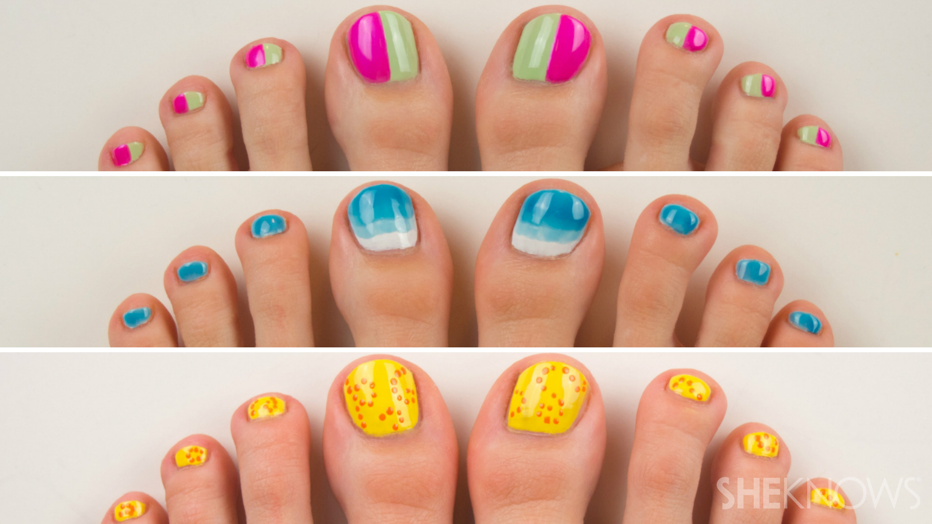 3 Summery pedicure nail art tutorials