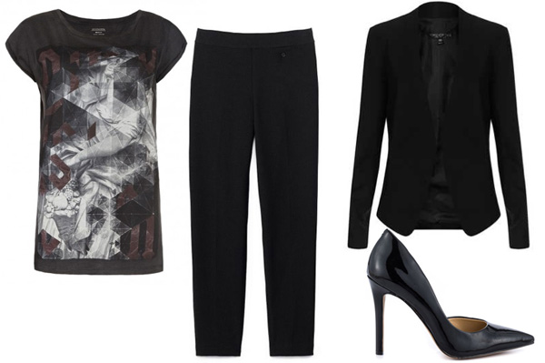 Graphic tee with pants for work