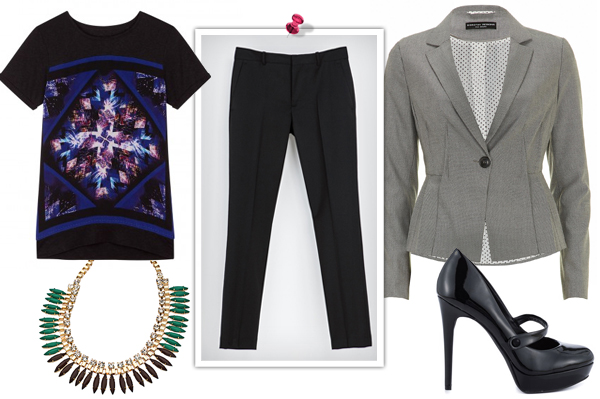 Graphic tee with statement necklace for work