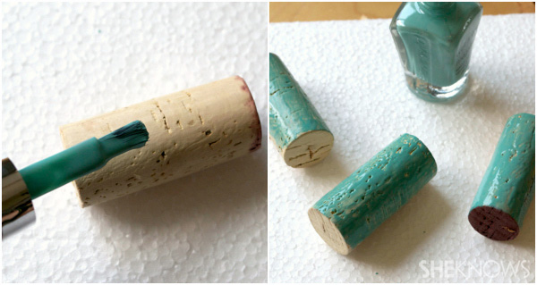 Paint the corks with nail polish