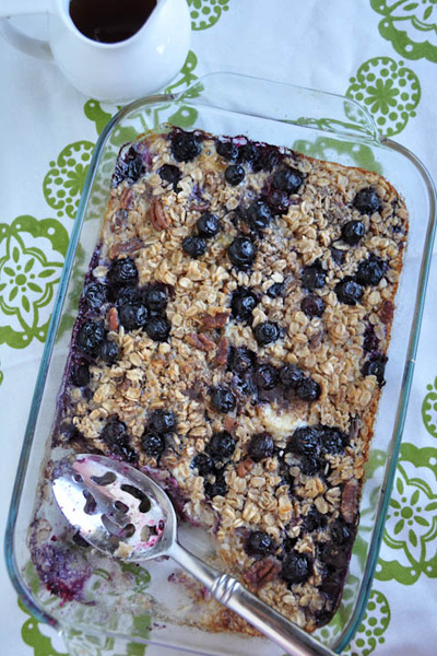 Baked banana and blueberry oatmeal