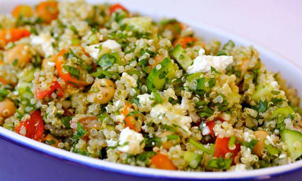 Quinoa tabouli with feta cheese and garbanzo beans